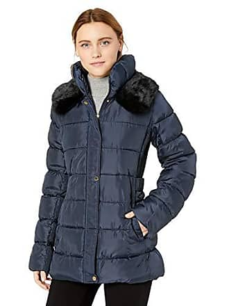 Via Spiga Womens Slimming Puffer Jacket with Side Tabs and Faux Fur, Navy X-Small