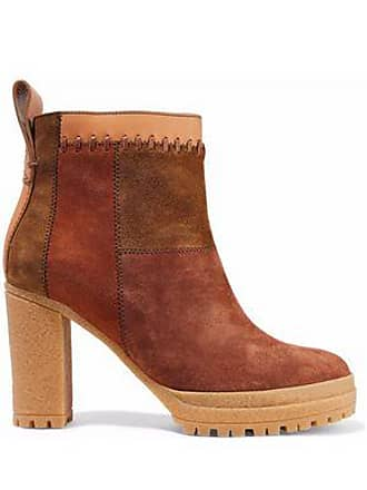 d5472f3017a0a See By Chloé See By Chloé Woman Claudia Patchwork Nubuck Ankle Boots Brown  Size 35
