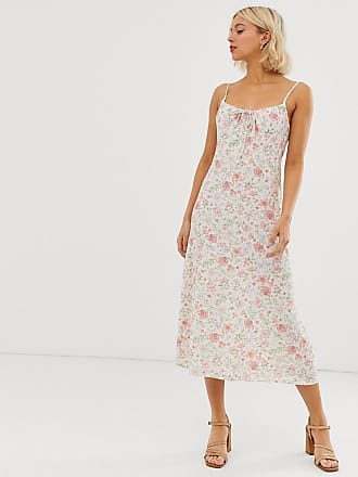 bc7b3d33796e New Look gather front strappy midi dress in white floral print - White