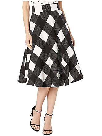 Unique Vintage Retro Black White Checkered High-Waisted Vivien Swing Skirt (Black/Ivory) Womens Skirt