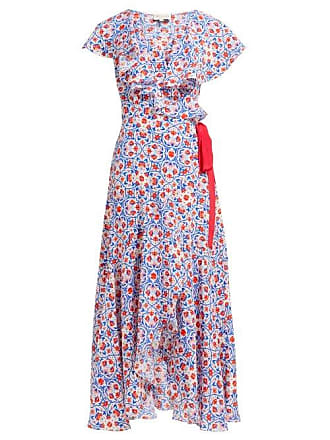 Beulah Ratna Floral Print Silk Wrap Dress - Womens - Red Multi