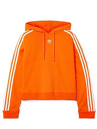 adidas Originals Cropped Striped Cotton-terry Hoodie - Orange