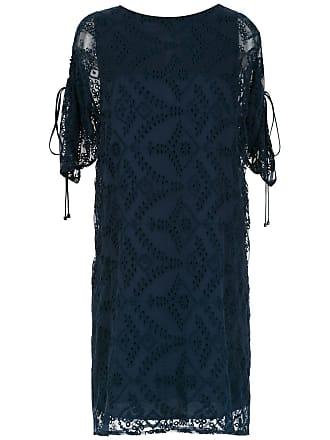 Tufi Duek Vestido de seda mangas curtas - Azul