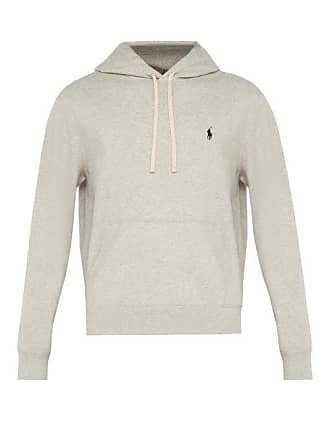 421127555 Polo Ralph Lauren Hooded Logo Embroidered Cotton Sweatshirt - Mens - Grey