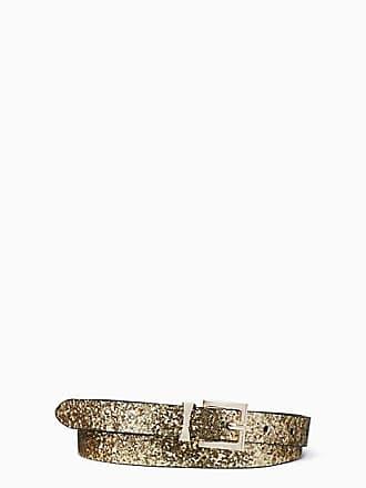 Kate Spade New York Glitter Leather Reversible Belt, Gold - Size M