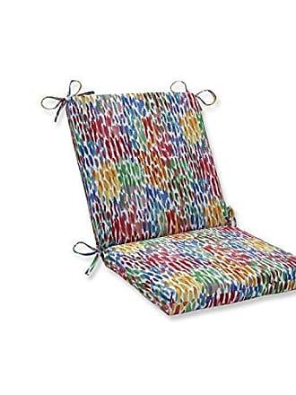 Pillow Perfect Outdoor | Indoor Make It Rain Zinnia Squared Corners Chair Cushion, Blue, 36.5 X 18 X 3