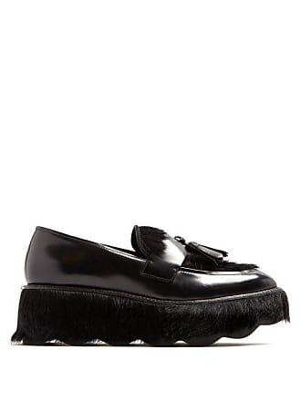 520ecb70bf1 Prada Tassel Embellished Leather Flatform Loafers - Womens - Black