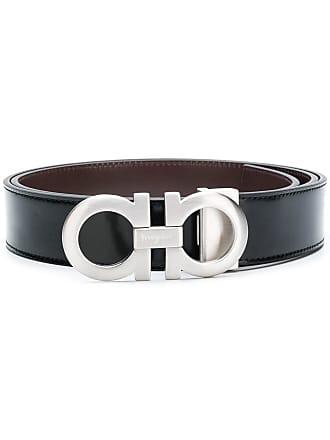 Salvatore Ferragamo logo buckle mid width belt - Black