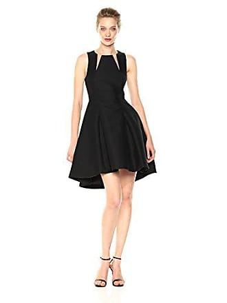 Halston Heritage Womens Sleeveless Round Neck Silk Faille Dress with Cut Outs, Black 8