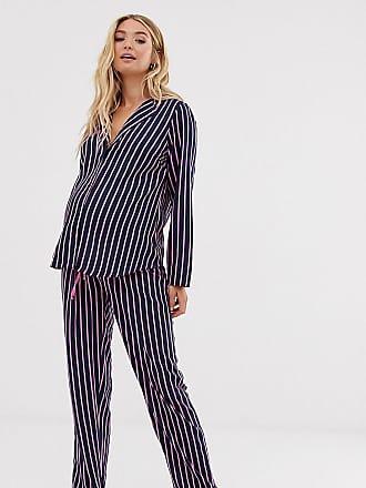 0f06949ded201 Asos Maternity ASOS DESIGN Maternity shirt & trouser pyjama stripe set in  100% modal