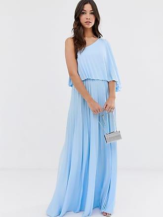 74b4b87e0cc8 Asos Vestito lungo monospalla a pieghe con corpino corto - Blu