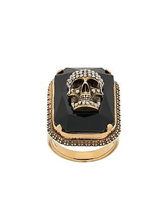 Alexander McQueen skull on crystal ring - Gold