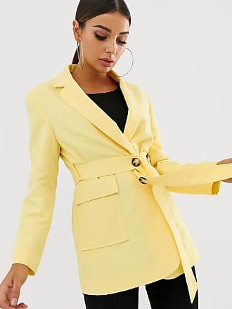 Veste blazer boutonnée lyocell jaune citron femme | Cache Cache