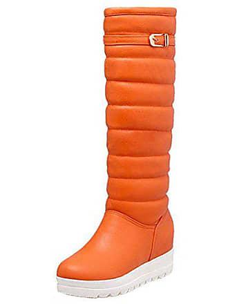 e6463fa18678b5 Zanpa Damen Winterschuhe Winter Schneestiefel Stiefel Wohnungform Orange  Size 33 Asian