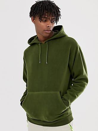 Asos oversized hoodied in polar fleece in khaki - Green