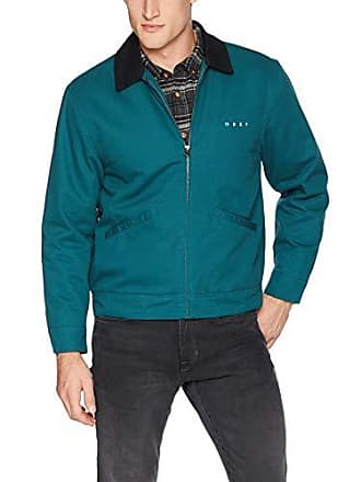 Obey Mens Dillinger Zip Trucker Jacket, Pine, Medium
