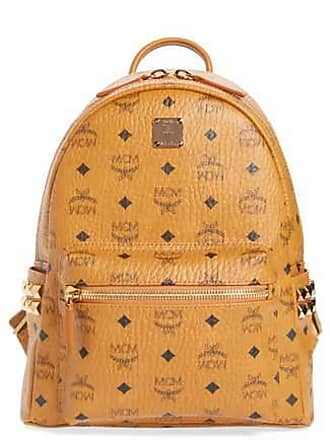 MCM Mini Stark Studded Coated Canvas Small Backpack - Beige