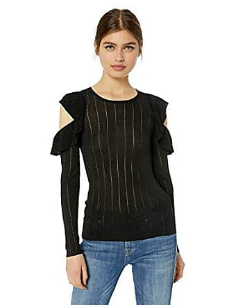 Guess Womens Long Sleeve Prism Lurex Rib Mix Sweater, Jet Black/Multi XL