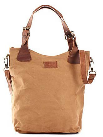 daa5479c4ecc4 Leconi Henkeltasche Vintage Look Damentasche Handtasche Damen Shopper mit  Schulterriemen Beuteltasche Canvas Leder 34x35x10cm cognac LE0054