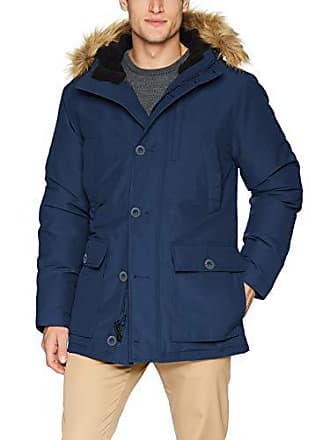 Goodthreads Mens Down Filled Hooded Parka, Navy, Medium