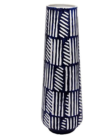 Three Hands Blue And White Ceramic Vase with Glossy Finish - 63559
