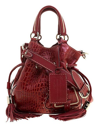 365b9bf5a2 Lancel Red Croc Embossed Leather Small Premier Flirt Bucket Bag