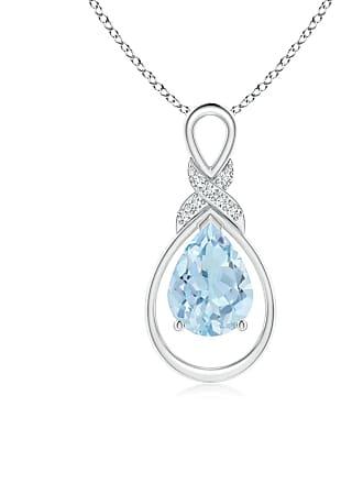 Angara Valentine Day Sale - Aquamarine Infinity Pendant with Diamond X Motif