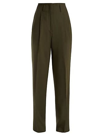 Etro Jade Wide Leg Wool Blend Trousers - Womens - Green