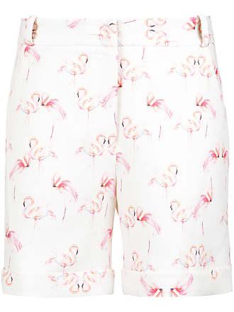 OLYMPIAH flamingo print tailored shorts - White
