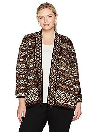 Ruby Rd. Womens Plus-Size Band-Collar Stripe Jacquard Sweater Cardigan, Cognac Multi, 2X