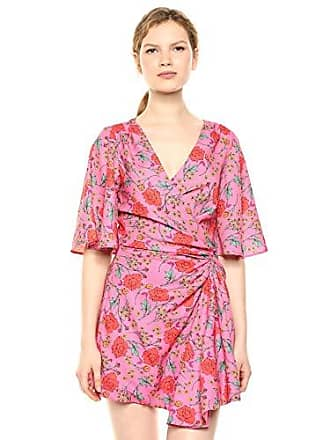 ccc35b8ad513 Finders Keepers Womens Hana Short Sleeve Faux Wrap Gathered Mini Dress,  Fuchsia Floral, M