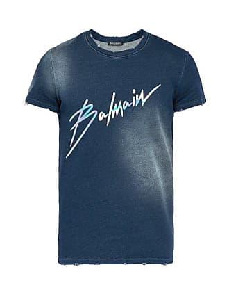 Balmain Distressed Effect Logo Print Cotton T Shirt - Mens - Navy