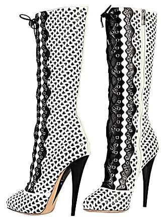 c69351f60e5 Versace White Perforated Leather Platform Boots Sz 40