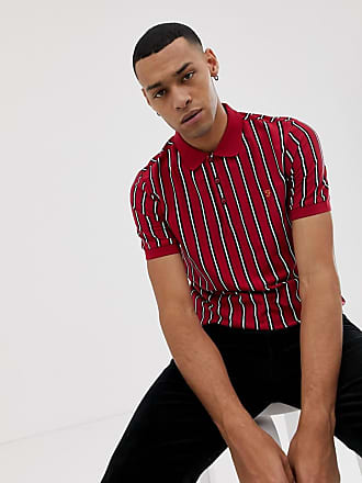 Farah Altham stripe polo in red - Red