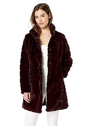 Via Spiga Womens Faux Fur Coat, Wine Small