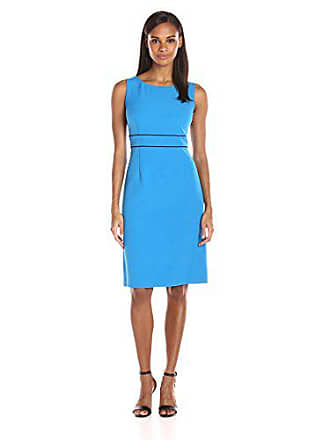 Kasper Womens Stretch Crepe Sheath Dress W/Front Slit, Azure, 6