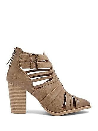 Forever 21 Forever 21 Strappy Faux Leather Cutout Booties Taupe