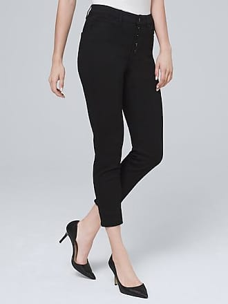 White House Black Market Womens High-Rise Button-Fly Skinny Crop Jeans by White House Black Market, Black, Size 14 - Regular