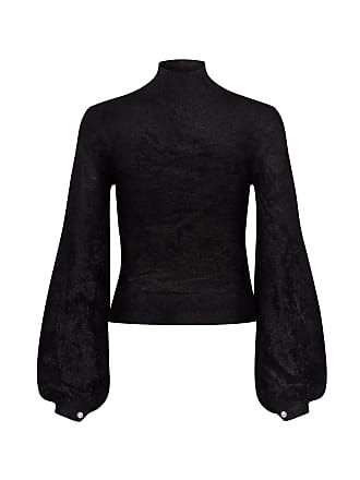 A.L.C. Martine Turtleneck Pearl Puffed Sleeve Cropped Sweater Black