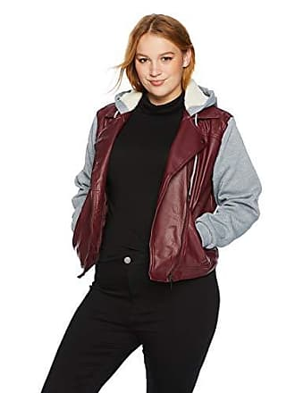 Yoki Womens Plus Size Sherpa Lined Faux Leather Moto Jacket, Burgundy, 1X
