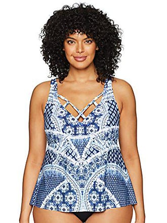 ef9198826a0 Jessica Simpson Womens Plus Size Tankini Swimsuit Top, Bondi Print Navy, 0X