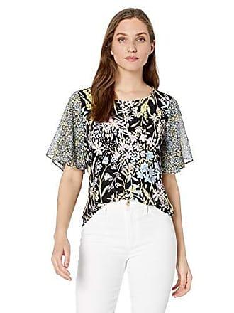 04669db31c5516 Calvin Klein Womens Double Chiffon Ruffle Sleeve Top, Black Combo, Large