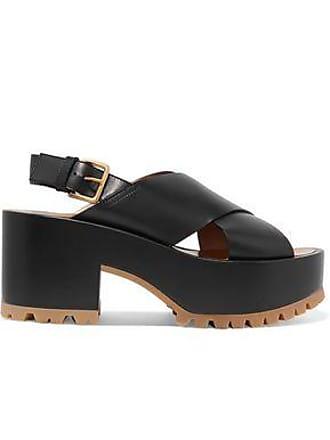 05f767f0d Marni Marni Woman Leather Platform Slingback Sandals Black Size 39