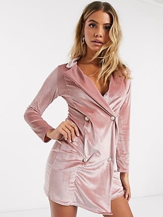 I Saw It First velvet double breasted blazer dress in pink