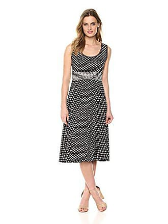 Max Studio Womens Sleeveles midi Jersey Dress, Black/red Daisy Petal Panel, Large