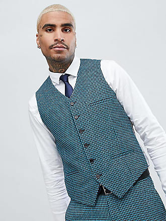 Heart & Dagger skinny wedding suit vest in summer dogstooth - Blue