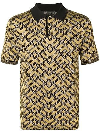 Versace Camisa polo slim com estampa - Dourado 160d11fdffd