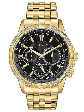 Zales Mens Citizen Eco-Drive Calendrier Diamond Accent Gold-Tone Watch with Black Dial (Model: Bu2082-56E)