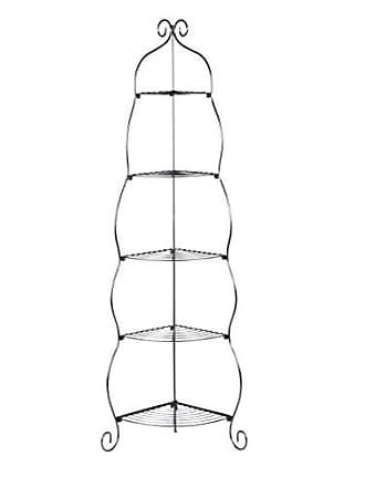 Southern Enterprises Scrolled Corner Etagere - 5 Open Shelves - Durable Wrought Iron Metal Black Frame
