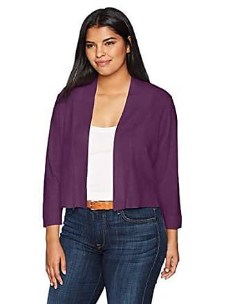 Calvin Klein Womens Plus Size Shrug with lace Back Panel, Aubergine, 1X